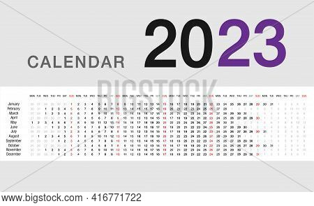 Year 2023 Calendar Vector Design Template, Simple And Clean Design For Organization And Business. We