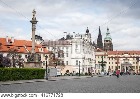 Prague, Czech Republic - May 1, 2017: Prague Old Town View, St. Vitus Cathedral Is On A Background.