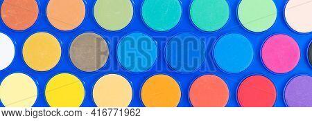 Watercolour Paint Pattern Close Up. Watercolor Palette Drawing Set
