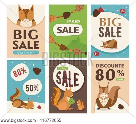 Sale Flyer Set With Cute Cartoon Squirrel Character. Orange Or Brown Mammal Holding Nut, Smiling, Sl
