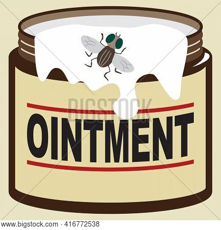 A Fly Is Checking Out Some Ointment On The Side Of The Jar