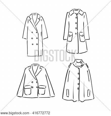 Long Coat Tech Pack Design. Fashion Flat Men Coat. Velcro Pocket Windbreaker Jacket Mockup Design Ou