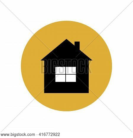 Black House Icon In A Yellow Circle. Travel To A Tourist Destination. Overnight At The Hotel, Hostel