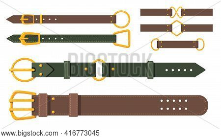 Brown And Green Leather Belts Flat Pictures Set For Web Design. Cartoon Classic Belts With Brass Met