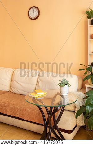 Vertical Fragment Of Home Trendy Real Cozy Interior For Relaxation With Green House Plants.