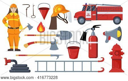 Firefighter And Firefighting Equipment Flat Pictures Collection. Cartoon Fireman, Ladder, Hose, Shov
