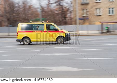 Moscow , Russia - March 2021: Emergency Service Vehicle Of A Specialized Organization Of The Moscow