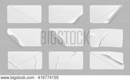 White Glued Crumpled Stickers With Curled Corners Mock Up Set. Blank White Adhesive Paper Or Plastic