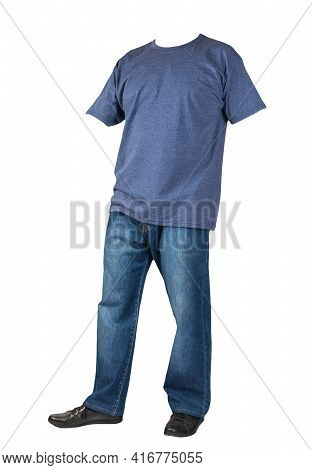 Dark Blue Jeans, Black Leather Shoes,vintage Heather Navy T-shirt Isolated On White Background. Casu