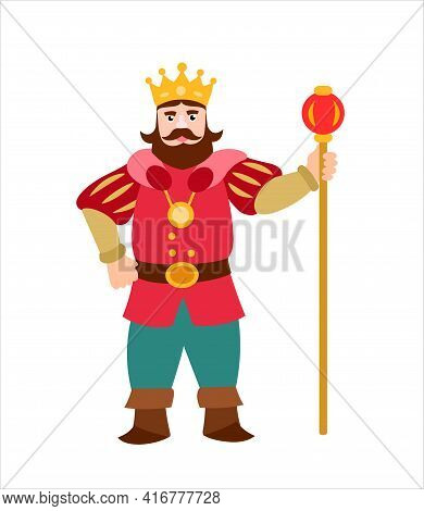 King. Strict King In A Crown And Mantle. Vector Illustration On White Background.
