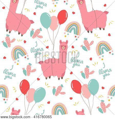 Cute Llama Seamless Pattern. Alpaca Flying On Toy Balloon, Pastel Rainbow And Cactus. Childish Backg