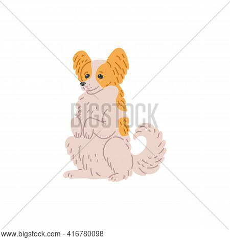 Cute Dog Of Small Breed Sits On Hind Legs, Cartoon Vector Illustration Isolated.