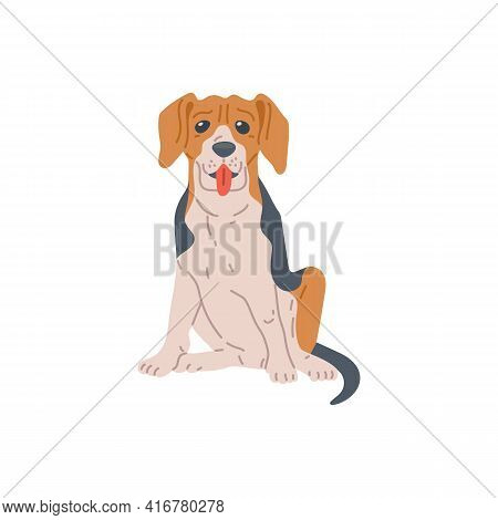 Beagle Breed Dog Or Puppy Cartoon Character, Flat Vector Illustration Isolated.