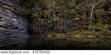 Pond Reflection At George's Hole In Fall Creek Falls State Park In Tennessee