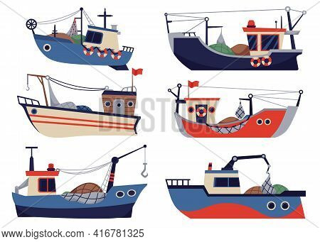 Vector Set Of Fishing Ships, Boats And Vessels For Fishery At Sea Or Ocean.