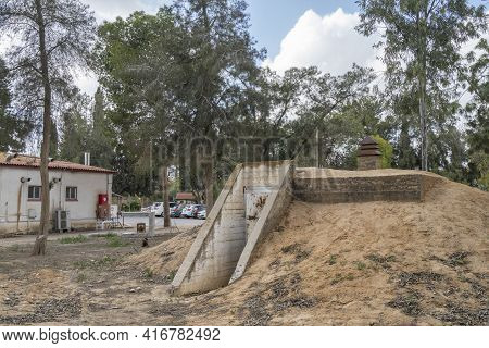 Tze'elim, Israel - March 12th, 2021: An Entrance To A Public Concrete Bomb Shelter, Used Against Roc