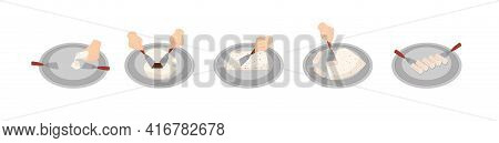 Preparing Stir-fried Or Rolled Ice Cream, Flat Vector Illustration Isolated.
