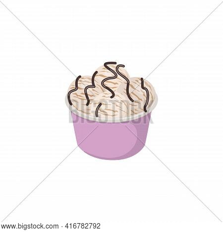 Vanilla Ice Cream Scoops With Chocolate Drizzle In Paper Cup