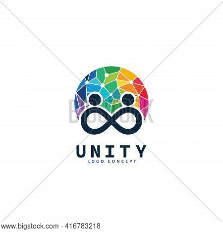 Unity People Colorful Logo Design Symbol Template Flat Style Vector Illustration