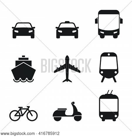 Transportation Icon Set. Taxi Car, Airplane, Public Bus, Bike, Scooter, Trolleybus, Train, Ship And