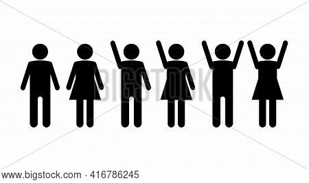 Set Of Icons Of Silhouettes Of People Men And Women With Lowered Hands. Raised With One Hand And Rai