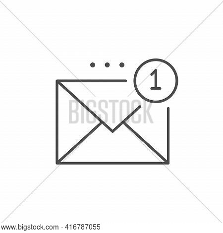 Inbox Message Line Outline Icon Isolated On White