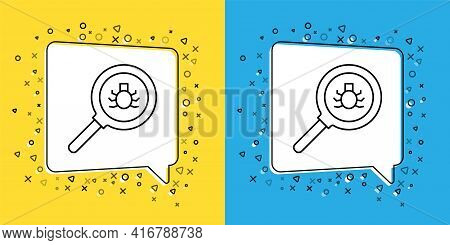 Set Line Flea Search Icon Isolated On Yellow And Blue Background. Vector