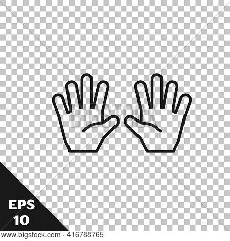 Black Line Medical Rubber Gloves Icon Isolated On Transparent Background. Protective Rubber Gloves.