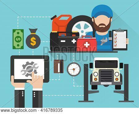 Online Car Service And Maintenance Concept. Car Service Call. Car Service Design Flat. Vector Illust
