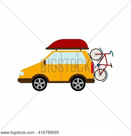 Travelling By Car. A Car With Aero Bag And A Bicycle. Family Hobby. Flat Style Vector Illustration I