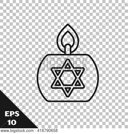 Black Line Burning Candle In Candlestick With Star Of David Icon Isolated On Transparent Background.