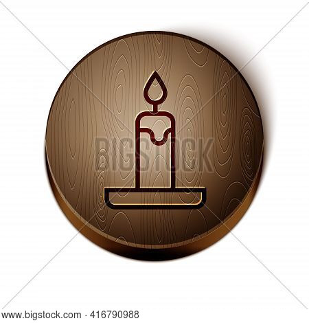 Brown Line Burning Candle In Candlestick Icon Isolated On White Background. Cylindrical Candle Stick