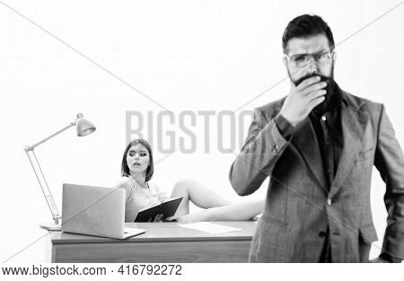 Competent And Experienced. Skilled Woman Worker With Bearded Man In Foreground. Adorable Office Work
