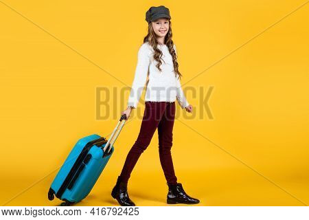 On The Way. Ready For Vacation Trip. Adventure. Happy Teen Girl With Bag. Spring Kid Fashion Style.