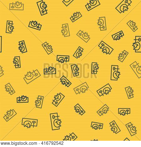Blue Line Bicycle On Street Ramp Icon Isolated Seamless Pattern On Yellow Background. Skate Park. Ex