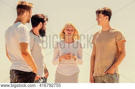 Enabling Effective Communication. Group Of Four People, Partnership. Group Communication Pleasure. C