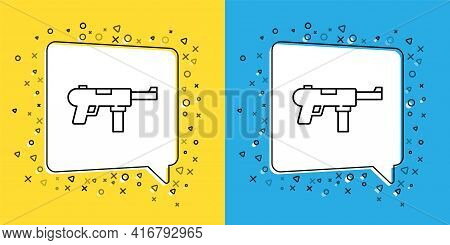 Set Line Submachine Gun M3, Grease Gun Icon Isolated On Yellow And Blue Background. Vector