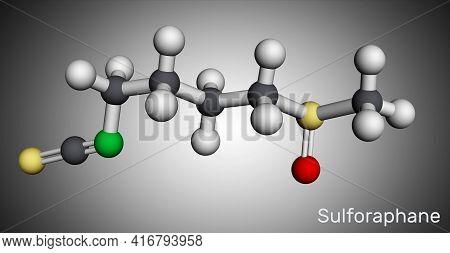 Sulforaphane, Sulphoraphane Molecule. It Is Isothiocyanate, Antineoplastic Agent, Plant Metabolite,