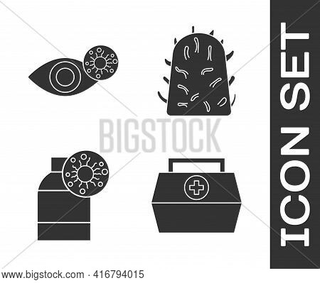 Set First Aid Kit, Reddish Eye Due To Virus, Bottle With Virus And Rabies Virus Icon. Vector