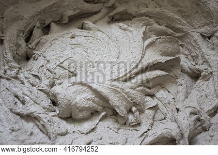 Gypsum Plaster Symbol. Gypsum Plaster In A Bucket, Prepared For Application On The Wall. Beautiful T