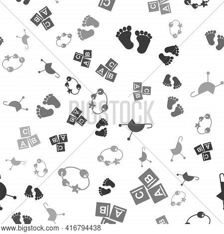 Set Baby Footprints, Abc Blocks, Baby Stroller And Rattle Baby Toy On Seamless Pattern. Vector