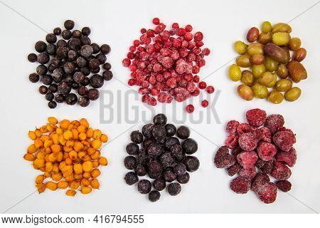 Berries Of Blueberries, Red And Black Currants, Sea Buckthorn, Raspberries, Grapes, Quick-frozen, La