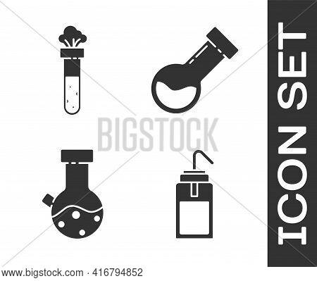 Set Laboratory Wash Bottle, Test Tube And Flask Chemical, Test Tube And Flask Chemical And Test Tube