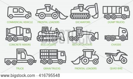Icon Set Of Construction Equipment. Special Machines For The Construction Work. Special Equipment. C