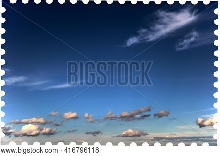 Vintage Postage Stamp Template. Postage Stamp With Sky And Clouds On A White Background. Flat Style