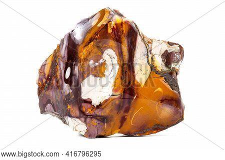Macro Stone Mineral Mookaite Jasper On A White Background