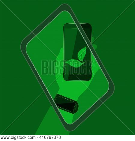 Digital Sustainability. Tablet, Smartphone In Hand, Leaves, On A Green Background. Environmental Imp