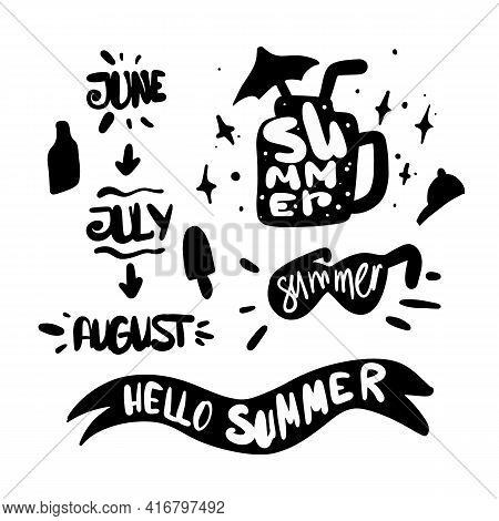 Summer Silhouette Elements With Lettering. Summer Months. June, July, August, Sommer Holiday. Doodle