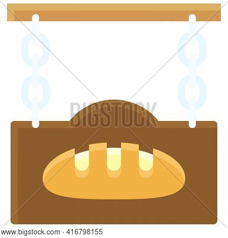 Bakery Shop Sign Icon, Bakery And Baking Related Vector Illustration