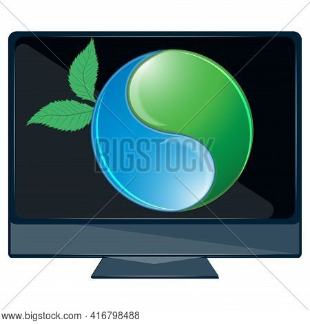 Digital Sustainability. Computer, A Symbol Of The Interconnection Of Nature. Think Green. Environmen